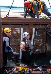 Lorain Harbor breakwater work