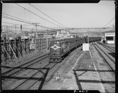 Suburban diesel train approaching Petone (1953)