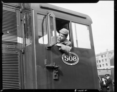 Schoolboy in cab of DE 508 (1954)