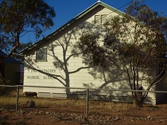 Parachilna in the Flinders Ranges. The town school. A school opened in the early 20th century. These wooden buildings date from the 1950s. The school closed in the mid 1980s.