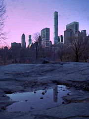 Central Park South:  Condo Reflected in Umpire Rock