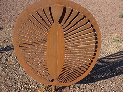 Parachilna in the Flinders Ranges. Sculpture of one of the Ediacaran world famous fossils of the first multicelled life one earth. .