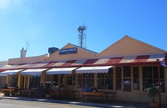 Hawker in the Flinders Ranges. The Flinders Food Company cafe and restaurant on a sunny winter's day in July school holidays.