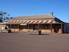 Parachilna in the Flinders Ranges. The Prairie Hotel known for its feral animal menu of camle goat emu kangaroo etc opened in 1882 when the railway reached here. This stone building was erected in 1905. .