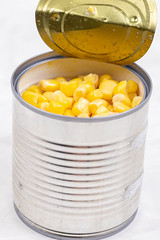 Canned cooked Corn closup image