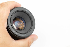 Photographic Canon Prime Lens 50mm f1.8 in the hand with copy space