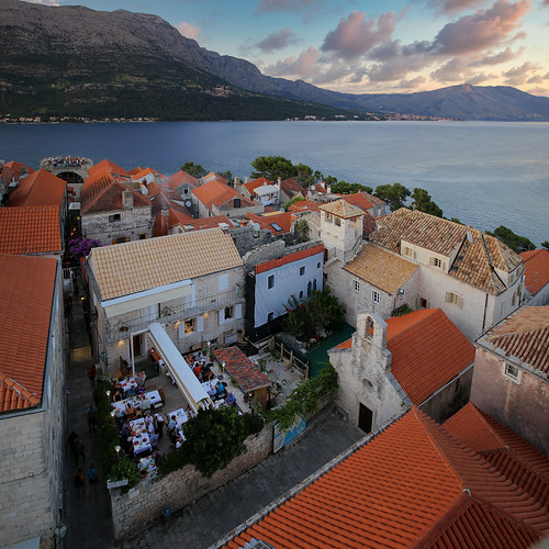 View from the Cathedral of Korčula on the house of Marco Polo