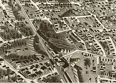 DETAIL OF 1887 BIRDS EYE VIEW OF MEMPHIS, TENNESSEE