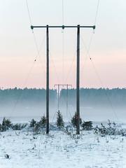 Power pylons on the isthmus between Sundsnäset and Furilden, Gotland