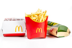 McDonald's cardboard boxes with food