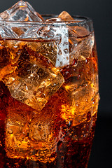 Close-up, glass of coca cola with ice