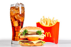 Burger, coca cola and fries. Fast food