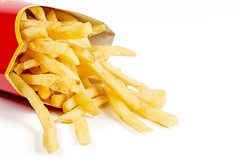French fries on white, close up