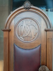 Adelaide. Mitcham. The old District Council of Mitcham chairman's chair.  The Council was the first created in South Australia in 1853.