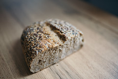 Rye bread on the wooden board