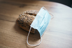 Medical mask on the rye bread.