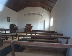 Beltana in the Flinders Ranges. The interior of the Smith of Dunesk Presbyterian Church built in 1893. Seek ye the Lord whilst He may be Found. Closed 1932.