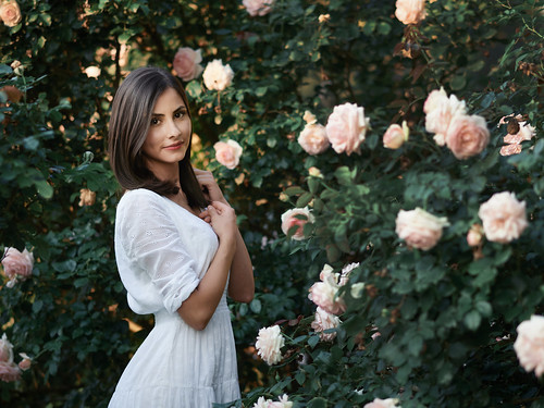 The girl and the roses