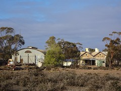 Beltana in the Flinders Ranges. The Great Northern Railway reached here in 1882. This  blue stone station and tin goods shed was built around that time.  Closed as a railway station in 1980..
