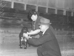 Mrs McLean Mr Hurley and Cocker Spaniel at Dog show Brisbane 1946