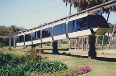 April 1988. Monorail in Busch Gardens, Tampa, Florida, USA.