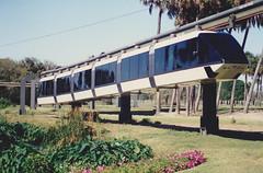 April 1988. Monorail in Busch Gardens, Tampa, Florida, USA.