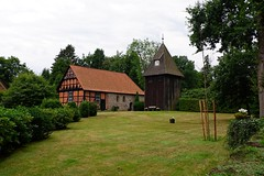 A church - half-timbered and stone with a wooden tower next to it | August 1, 2020 | Lower Saxony - Germany