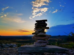 Built a Mini Cairn @ the Top of The Notre-Dame du Roc Castel chapel des Le Caylar France, Taken with my Phone Camera.