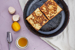 French toast breakfast with a mug of tea