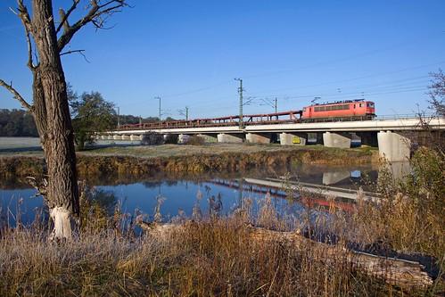 DB 155 141 + goederentrein/Güterzug/freight train  - Biederitz