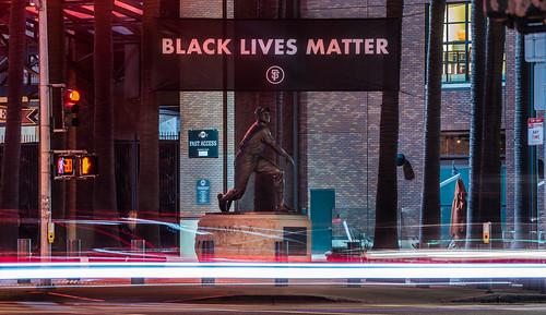 black lives matter at willie mays plaza