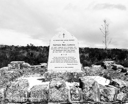 IRL0368_bw - Memorial to Captain Noel Lemass IRA - Wicklow Mountains - Glencree - Eire