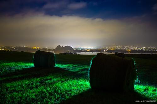 Nocturnal Haybales & Dumbarton Rock