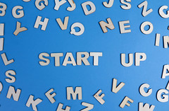 Start up written with wooden letters