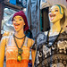 Bangkok, Thailand - November 30, 2019: Happy laughing women mannequins or dress forms displaying clothing for sale at the Chatuchak Weekend Market