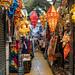 Bangkok, Thailand - November 30, 2019: Stalls selling trinkets and clothing inside an aisle at the Chatuchak Weekend Market