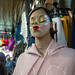 Bangkok, Thailand - November 30, 2019: Kissing face (duck face) women mannequin displaying clothing for sale at the Chatuchak Weekend Market