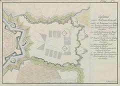 "The BL King's Topographical Collection: ""Entwurf eines retranchments unter die canonen festung die befatzung belfchet aus 10 bataillons infanterie und 8 esquadrons cavallerie """
