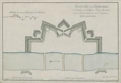 """The BL King's Topographical Collection: """"Grŭnd = riss einer brückenschanze zŭ deckŭng von 3 schiff = oder ponton = brücken, die mit 1200 mann infanterie ŭnd 12 canonen gefelzet werden kann."""""""