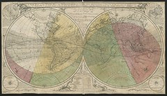 """The BL King's Topographical Collection: """"A New Map of the World, in two Hemispheres, with the New Discoveries and Tracts of the two Circumnavigators vizt. Dampier and Anson round it, etc. [Coloured to show the Transit of Venus, 3rd June, 1769, with MS. No"""