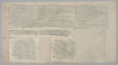 """The BL King's Topographical Collection: """"[Two sheets of graphite rubbings taken from sixteenth century brass memorial plates in St. Mary's Church, Antingham, Norfolk]."""""""