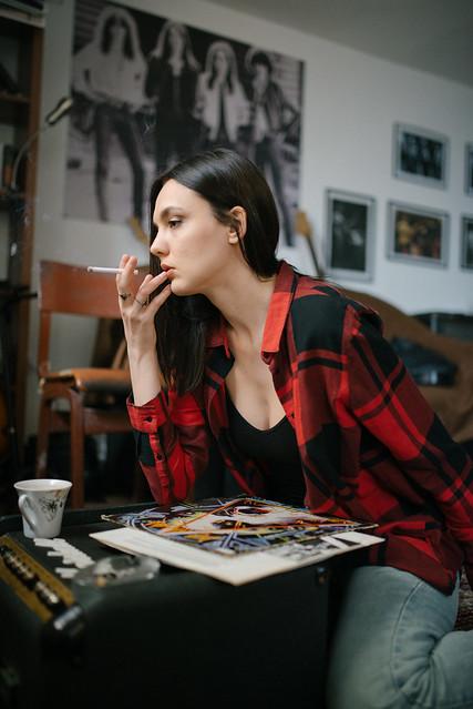 Photo:Model in a plaid shirt smoking a cigarette. By shixart1985