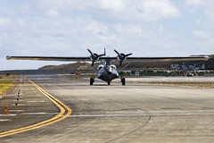 Patrol Bomber Catalina lands at Marine Corps Air Station Kaneohe Bay