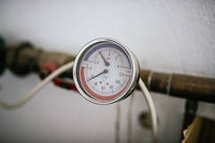 Thermometer on the heater pipes.