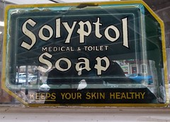 Maitland Yorke Peninsula. Old advertising sticker for Solyptol Soap on the window of the local Foodland Supermarket.