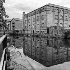 Reflection of Victorian warehouse