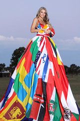 World Flag social distancing dress designed by Eva Rinaldi