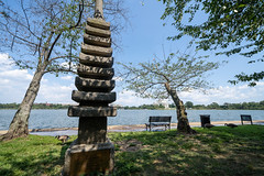 Washington, DC - August 6, 2019: Japanese Pagoda is a stone statue in West Potomac Park, Washington, D.C, at the tidal basin. Shown in summertime