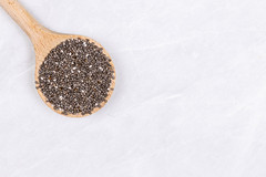 Chia Seeds on the wooden spoon with copy space