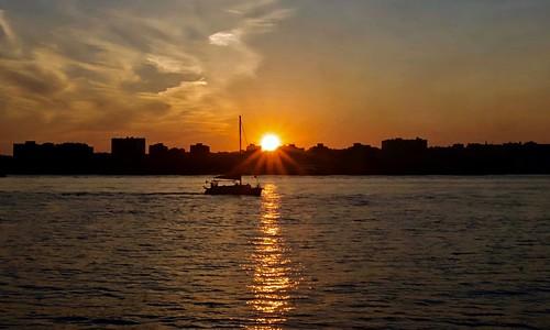 Crossing the line (sunset) - Hudson River Park, New York City